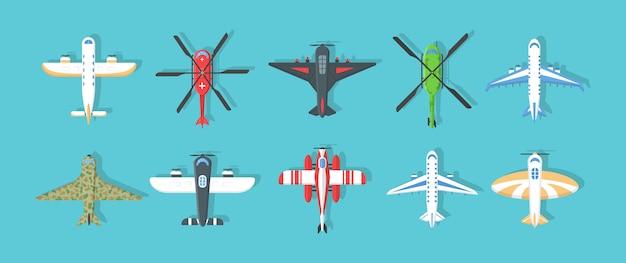 Flugzeuge und militärflugzeuge, hubschraubersammlung. satz bunte flugzeuge und hubschrauberikonen. fliegendes flugzeug in den himmel in einer art, draufsicht. flugreisen. illustration ,.