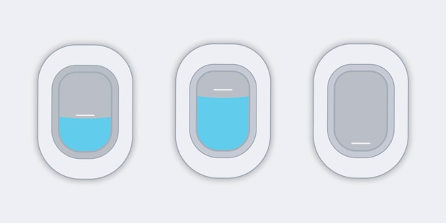 Flugzeugfenster. blick aus dem flugzeug. flaches web-vektor-banner. reise- oder tourismuskonzept.