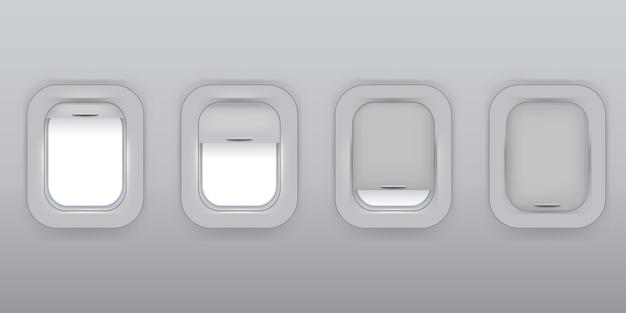 Flugzeugfenster in einer reihe. flugzeug. flugzeugfenster öffneten sich und schlossen sich.