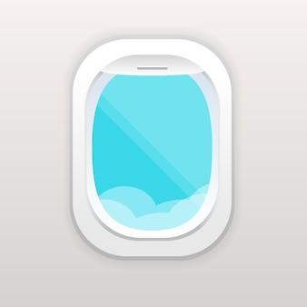 Flugzeugfenster mit bewölktem blauem himmel draußen.