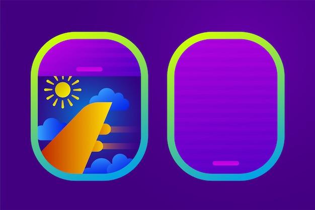 Flugzeugfenster mit sonne, bewölktem himmel und flügel im flachen stil. flugreisen oder tourismus.