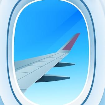 Flugzeugfenster öffnete bullauge blick in offenen raum himmel mit flügel reisetourismus lufttransport konzept vektor-illustration