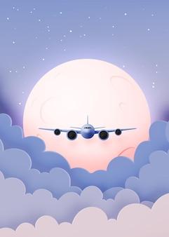 Flugzeugfensteransicht mit schönem nachthimmel und sternenhintergrundillustration