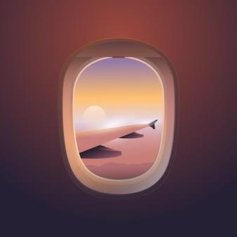 Flugzeugfensteransicht, sonnenuntergangshimmel vom flugzeugfenster