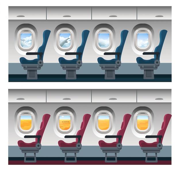 Flugzeugfensteransichtillustration, karikaturinnenraum innen, reisebetrachtung durch bullauge auf bewölkter himmelslandschaft oder wüstenlandschaft