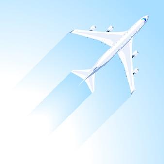 Flugzeugfliege auf dem blauen himmel