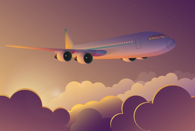 Flugzeugfliegen im himmel bei sonnenaufgang