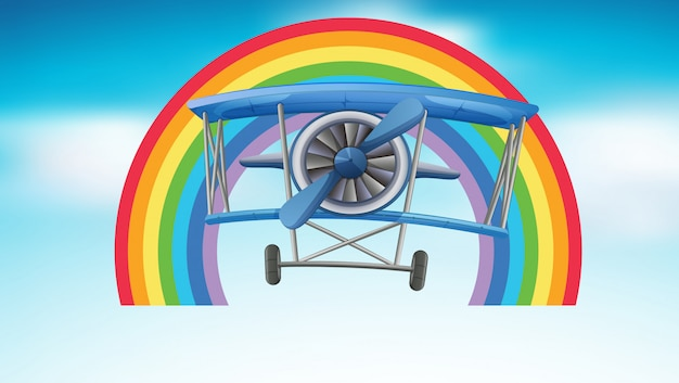 Flugzeugfliegen im himmel mit regenbogen