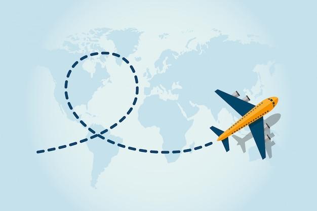 Flugzeugfliegen und verlassen eine blaue gestrichelte spurlinie