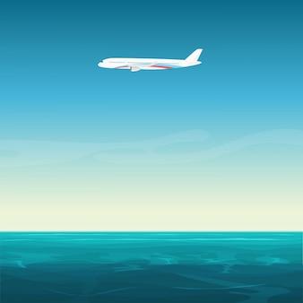 Flugzeugflugzeug im leeren himmel unter ozeanmeerkarikaturillustration.