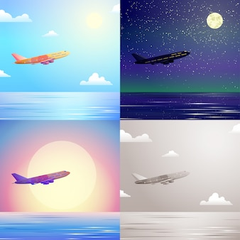 Flugzeugflugzeuge, die im himmel über seereisekonzept fliegen, stellen flache entwurfsillustrationen ein. tag nacht sonnenuntergang abend landschaft hintergrund