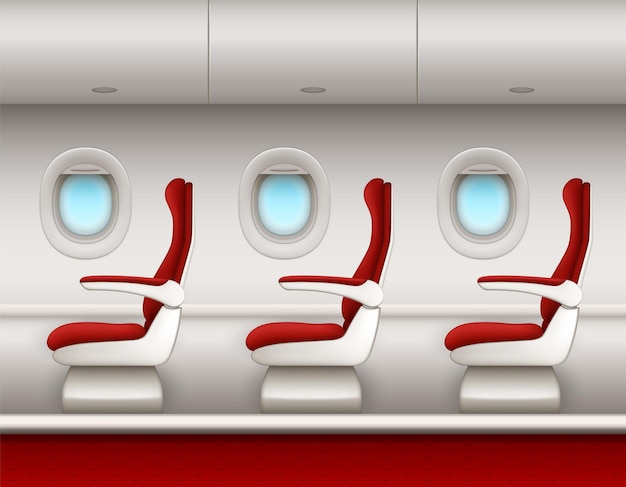 Flugzeuginnenraum mit beifahrersitzreihe, offenen bullaugefenstern und gepäckräumen. seitenansicht der flugzeugkabine mit roten sitzstühlen der premium- oder economy-klasse, flugzeugsalon