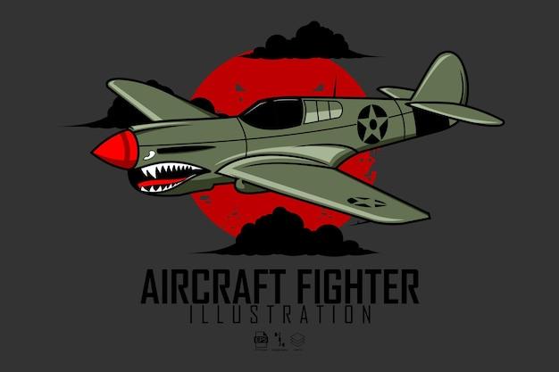 Flugzeugkämpfer-illustration mit grauem hintergrund