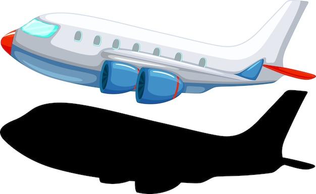 Flugzeugkarikaturstil mit seiner silhouette