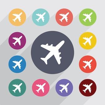 Flugzeugkreis, flache symbole gesetzt. runde bunte knöpfe. vektor