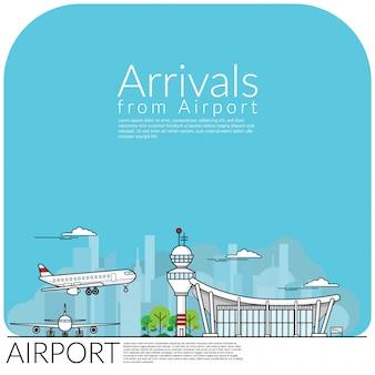 Flugzeuglandung für die ankunft vom flughafenterminal