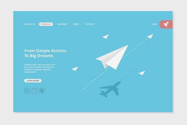 Flugzeuglandung webseitenvorlage. erfolgsgeschäftswebseitenkonzeptbild mit papierflugzeugzielzielvorlage. illustration geschäftsflugzeugentwicklung
