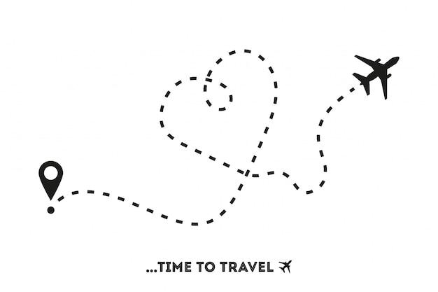 Flugzeuglinie weg, zeit zu reisen, in der flachen art