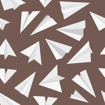 Flugzeugmuster. reisekonzept mit origami-stil flugzeugtransport einfachen himmel papier avia nahtlosen hintergrund. papierspielzeug fliegen, flugzeugreisefreiheit illustration