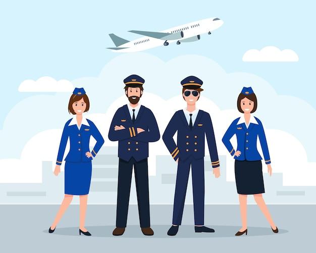 Flugzeugpersonal oder besatzung am flughafen oder pilotenassistenten und stewardessen in uniform
