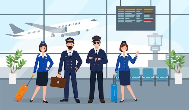 Flugzeugpersonal oder besatzung in der flughafenhalle kapitän pilotassistent und stewardessen in uniform