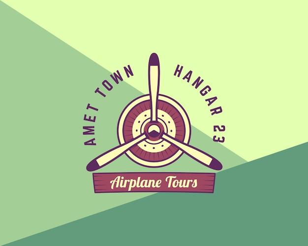 Flugzeugpropeller-emblem. doppeldecker-etikett. retro-flugzeugabzeichen, designelemente. vintage-drucke für t-shirt. luftfahrt-stempel. logo der flugschau. reise-logo. auf lustigen hintergrund isoliert. .