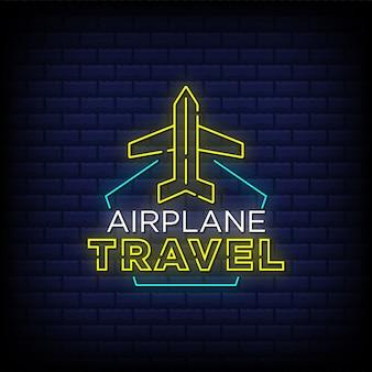 Flugzeugreise-neonzeichen-arttext mit flugzeugikonenentwurf