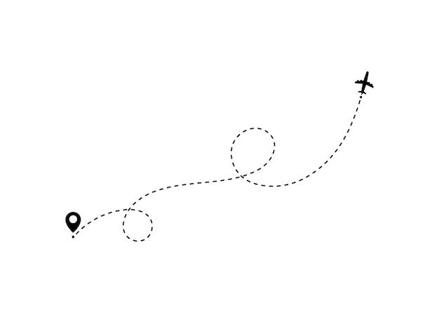Flugzeugreisekonzept mit kartenstiften, gps-punkten.