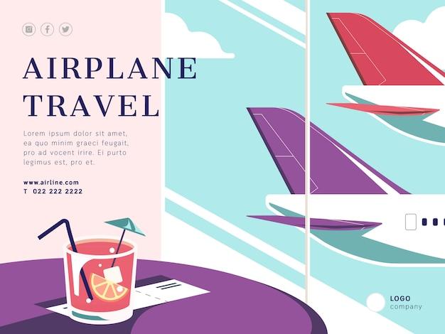 Flugzeugreisen-social media-beitragsschablone