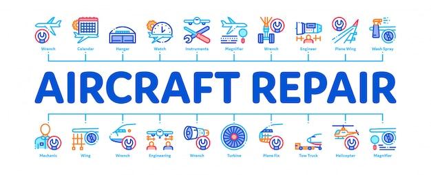 Flugzeugreparatur-werkzeug-minimale infographic-fahne