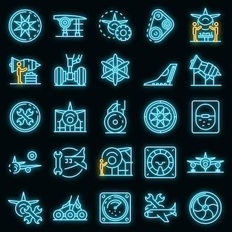 Flugzeugreparatursymbole gesetzt. umrisse von flugzeugreparaturvektorsymbolen neonfarbe auf schwarz
