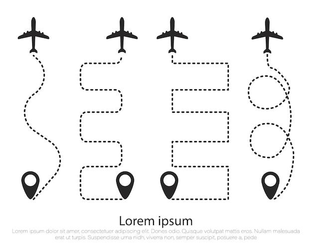 Flugzeugroute in form einer gepunkteten linie. flugzeug, spur.