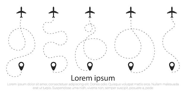 Flugzeugroute in form einer gepunkteten linie