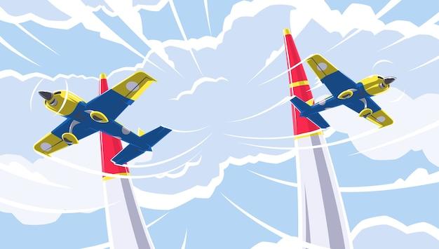 Flugzeugsport. eine der arten von flugsportarten. sportwettkämpfe auf einsitzigen sport- und trainingsflugzeugen im kunstflug. luftrennen im luftverkehr.