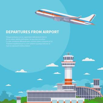 Flugzeugstart auf rollbahn im internationalen flughafen. tourismus- und flugreisevektorkonzept. flugzeugabflug von der illustration des internationalen terminals