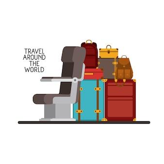 Flugzeugstuhl mit stapelkoffern