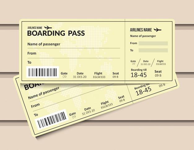 Flugzeugticket. vorlage für bordkarte einer fluggesellschaft. flughafen- und flugzeugpassdokument.