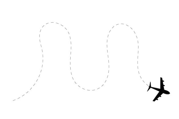 Flugzeugzeichnung mit gepunkteter route