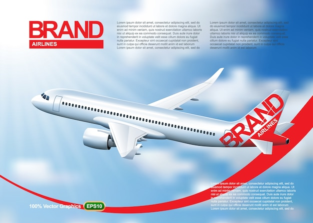 Flugzeugzeitschrift oder plakatschablone, fliegend in einen schönen blauen himmel
