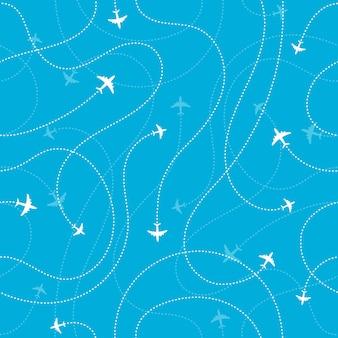 Flugzeugziele nahtloser hintergrund. abenteuerzeitkonzept