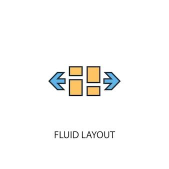 Fluid layout konzept 2 farbige liniensymbol. einfache gelbe und blaue elementillustration. flüssiges layout-konzept-umriss-symbol-design