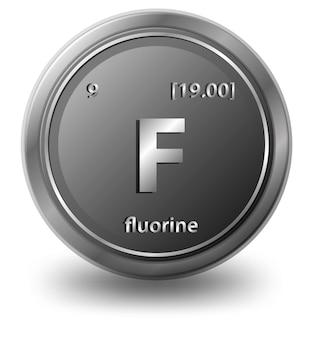 Fluor chemisches element. chemisches symbol mit ordnungszahl und atommasse.