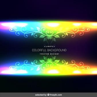Fluorescent hintergrund mit ornamenten