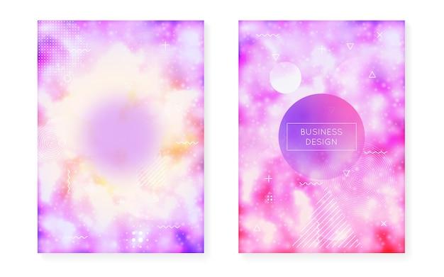 Fluoreszierender hintergrund mit flüssigen neonformen. lila flüssigkeit. leuchtendes cover mit bauhaus-gefälle. grafikvorlage für buch, jährliche, mobile schnittstelle, web-app. magischer fluoreszierender hintergrund.