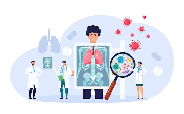 Fluorographie und röntgenaufnahme des patienten. röntgenuntersuchung der brust. radiologe, der lungenuntersuchungen durchführt, durchleuchtungsbilder analysiert, röntgenfotografie. lungenentzündung, lungenentzündung