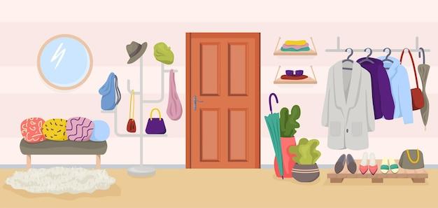 Flur home interior vector illustration wohnung möbel im flur design flaches haus eingangszimmer...