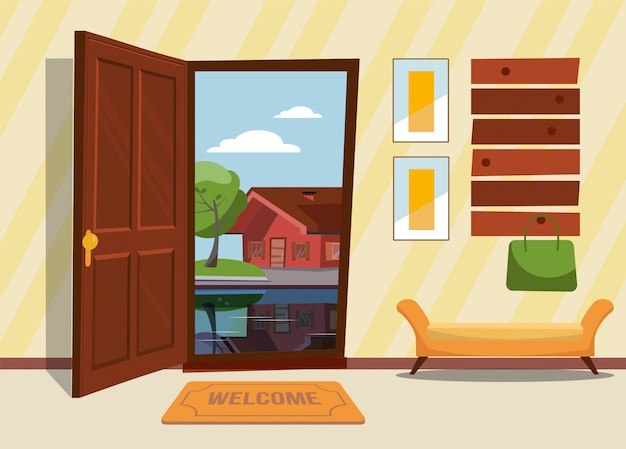Flur interieur mit offener tür, garderobe mit damentasche. grüne bäume und landhaus draußen. sonniges sommerwetter.