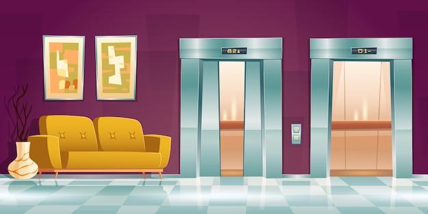 Flur mit aufzugtüren, leerer innenraum mit couch, leicht angelehnt und offenen aufzugstoren. büro oder hotel mit passagierkabinen, knopfleiste und bodenanzeige, cartoon-illustration