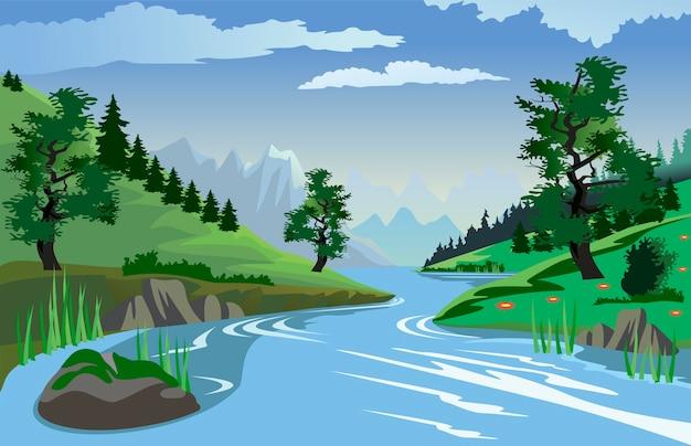 Fluss, der hügel durchfließt