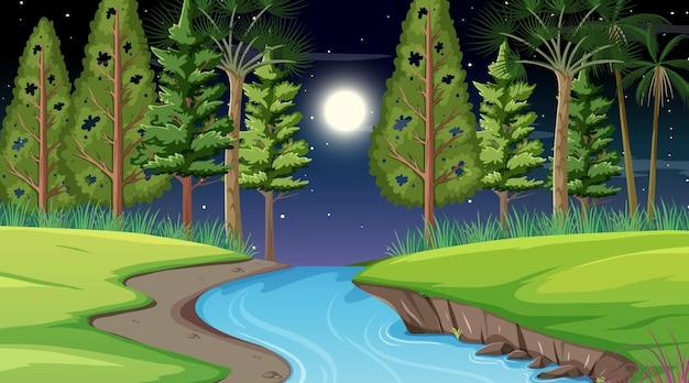 Fluss durch die waldszene in der nacht
